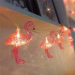 10'lu Pilli Led Flamingo Dekoratif Işık Zinciri Aydınlatma 1,5 Mt