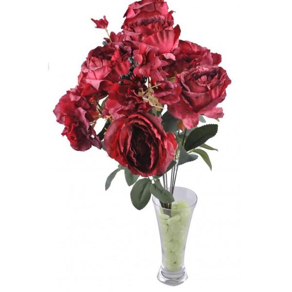 11 Dallı 50 cm Boy Damarlı Gül Yapay Çiçek Kırmızı-CK007KZ