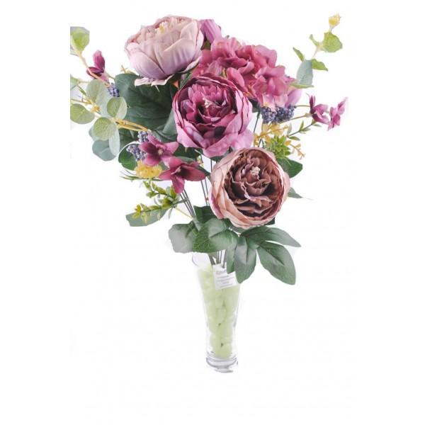 11 Dallı 50 cm Gül Demeti Yapay Çiçek Mor-CK004MR