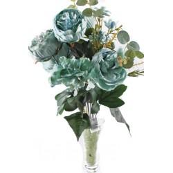 11 Dallı 50 cm Gül Demeti Yapay Çiçek Yeşil-CK004Y
