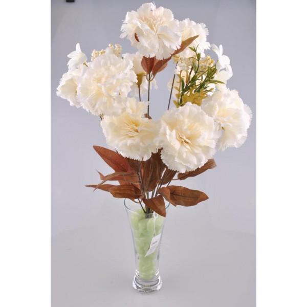 11 Dallı 50 cm Karanfil Yapay Çiçek Beyaz-CK002BZ