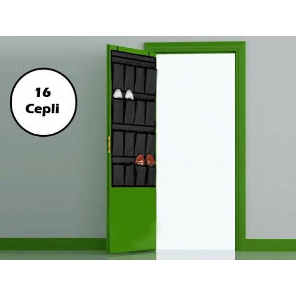 16 Cepli Kapı Arkası Çok Amaçlı Organizer Düzenleyici Siyah