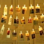 3 Metre 20'li Led Işıklı Dekoratif Fotoğraf Askılığı Mandalları