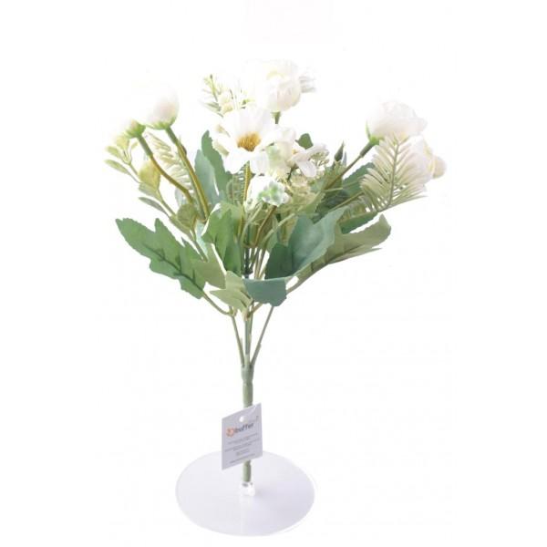 5 Dallı 28 cm Dekoratif Gül Papatya Demeti Yapay Beyaz Renk Çiçek