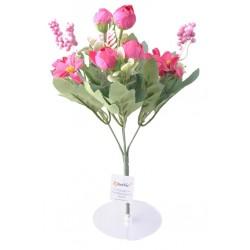 5 Dallı 28 cm Aranjmanlı Gül ve Papatya Yapay Çiçek Kırmızı-CK012KZ