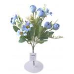 5 Dallı 28 cm Aranjmanlı Dekoratif Gül ve Papatya Demeti Mavi