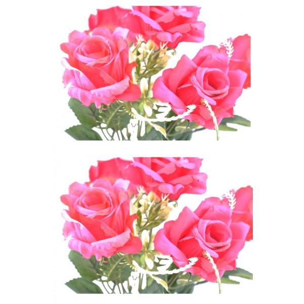 5 Dallı 28 cm Gül Yapay Çiçek  Kırmızı-CK010KZ