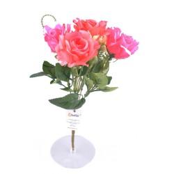 5 Dallı 28 cm Gül Yapay Çiçek  Pembe-CK010PE