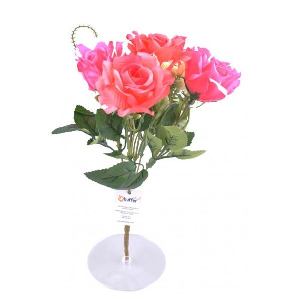 5 Dallı 28 cm Pembe Renkli Dekoratif Gül Yapay Sahte Çiçek