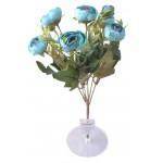 6 Dallı 28 cm Şakayık Gül Yapay Çiçek Mavi-CK011MA