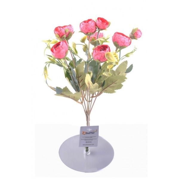 6 Dallı 28 Cm Şakayık Gül Yapay Çiçek Pembe Renk Dekoratif Çiçek