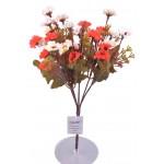 7 Dallı 33 cm Papatya Yapay Çiçek Kırmızı Beyaz-CK009KB