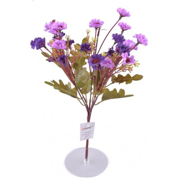 7 Dallı 33 cm Dekoratif Papatya Yapay Sahte Mor Renk Çiçek