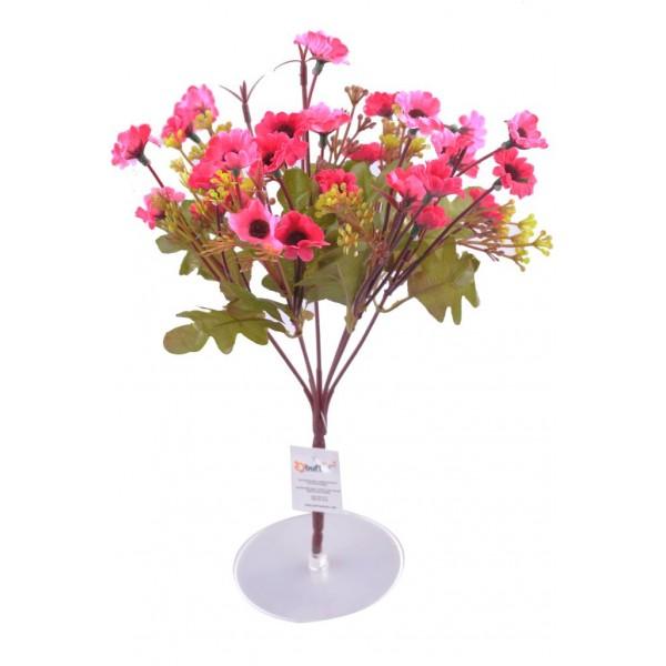 7 Dallı 33 cm Dekoratif Papatya Pembe Renkli Yapay Sahte Çiçek