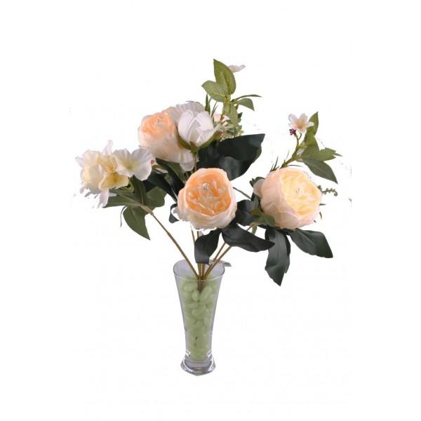 9 Dallı 40 cm Dekoratif Gül Demeti Beyaz Yapay Süs Çiçek