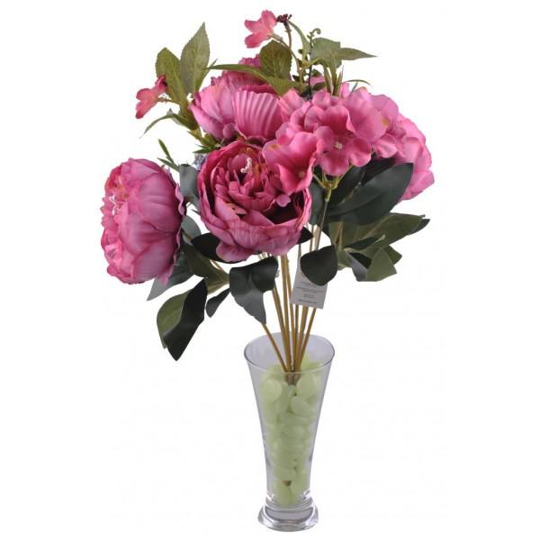 9 Dallı 40 cm Gül Yapay Çiçek Mürdün-CK003MN