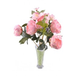 9 Dallı 40 cm Dekoratif Gül Demeti Pembe Yapay Süs Çiçek