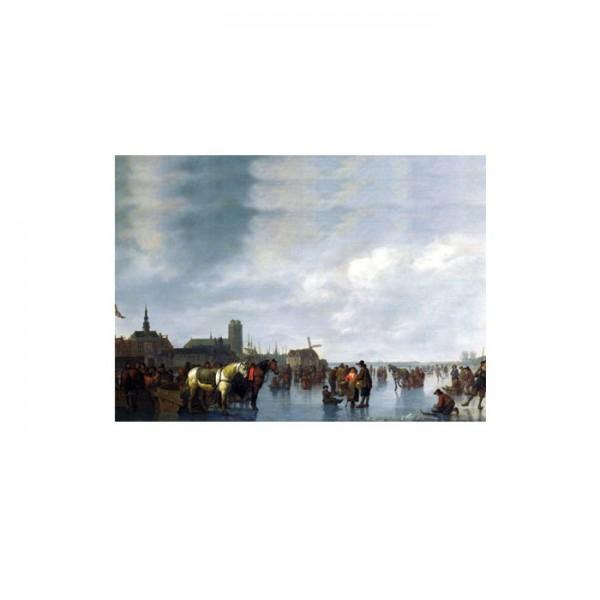 Abraham Van Calraet - Scene on the Ice Outside Dordrecht 50x70 cm