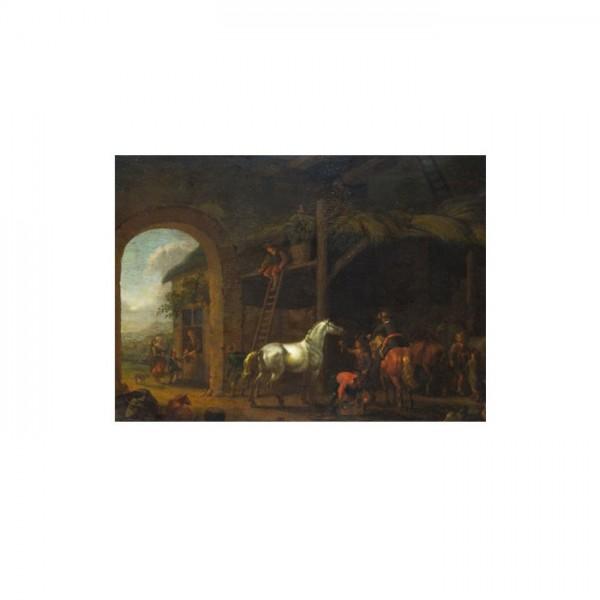 Abraham van Calraet - The Interior of a Stable 50x70 cm