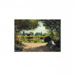 Adolphe Monet Reading in the Garden 50x70 cm