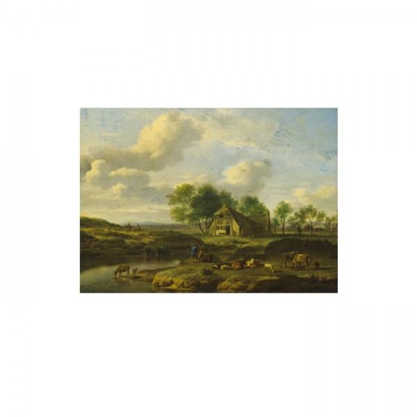 Adriaen Van De Velde - A Landscape with a Farm by a Stream 50x70 cm