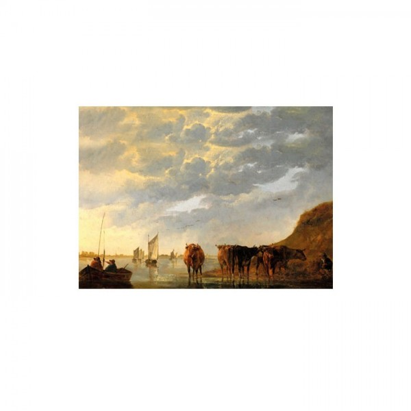 Aelbert Cuyp - A Herdsman with Five Cows by a River 50x70 cm