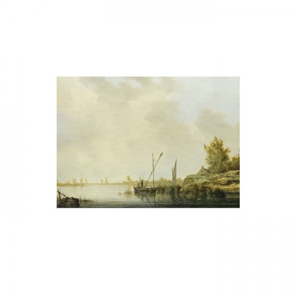 Aelbert Cuyp - A River Scene with Distant Windmills 50x70 cm