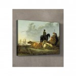 Aelbert Cuyp - Peasants and Cattle by the River Merwede 50x70 cm