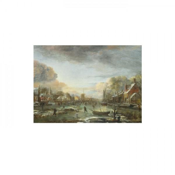 Aert Van Der Neer - A Frozen River by a Town at Evenin 50x70 cm