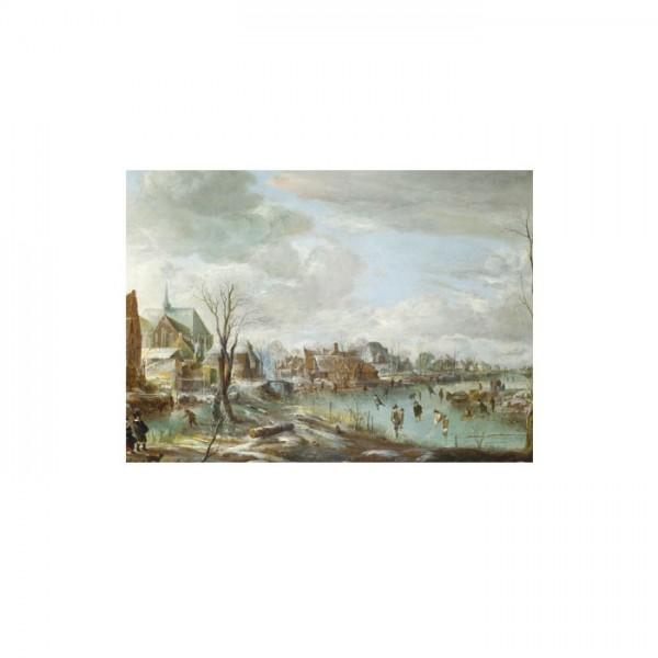 Aert Van Der Neer - A Frozen River near a Village 50x70 cm