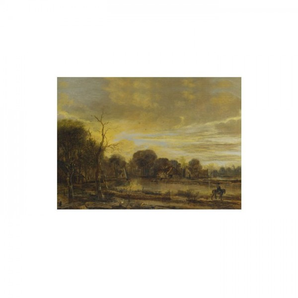 Aert Van Der Neer - A River Landscape with a Villag 50x70 cm