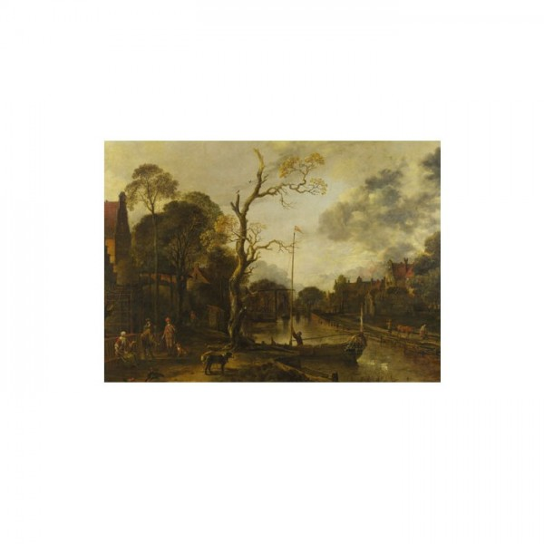 Aert Van Der Neer - A View along a River near a Village at Evening 50x70 cm