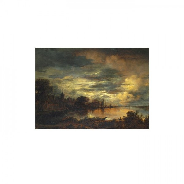 Aert van der Neer - A Village by a River in Moonlight 50x70 cm