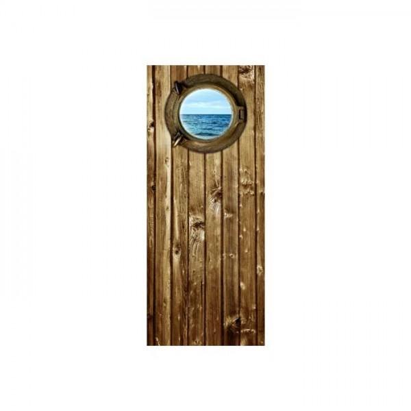Ahşap Gemi Kapısı Buzdolabı Sticker