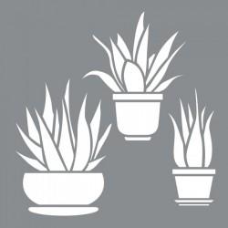 Aloe Vera Stencil Tasarımı 30 x 30 cm