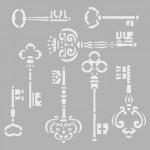 Anahtarlar-1 Stencil Tasarımı 30 x 30 cm