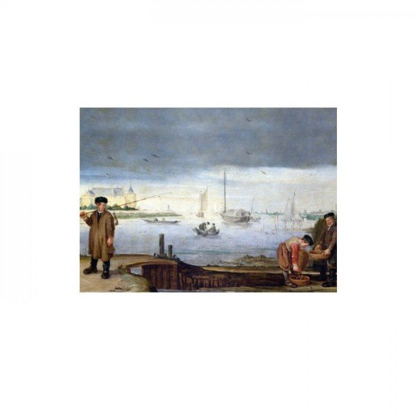 Arent Arentsz - Fishermen Near Muiden castle 50x70 cm