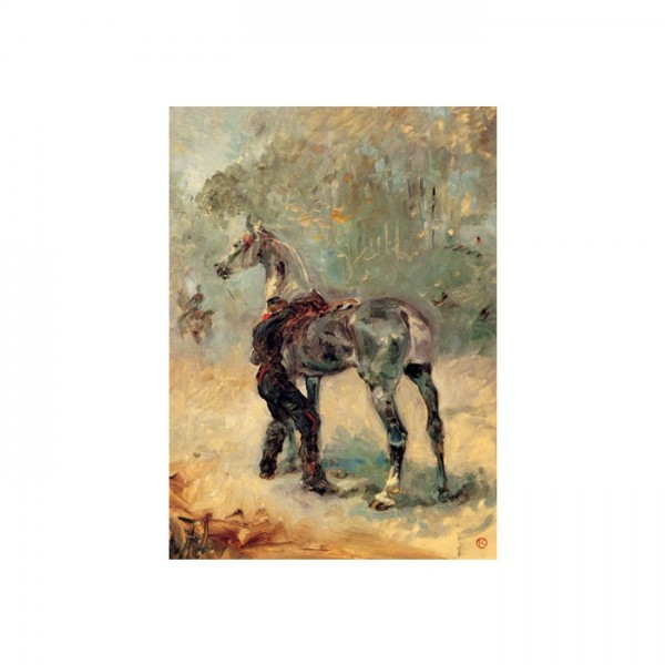 Artilleur Sellant Son Cheval Kanvas Tablo 50X70 Cm