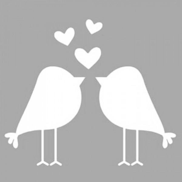 Aşık Kuşlar Stencil Tasarımı 30 x 30 cm