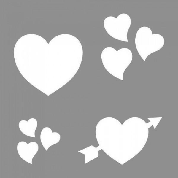 Aşk ve Kalpler Stencil Tasarımı 30 x 30 cm