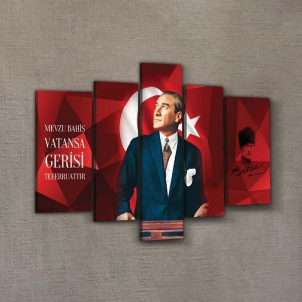 Atatürk-31 Kanvas Tablo 135x85 cm,  Ev Ofis Duvar Dekorasyonu