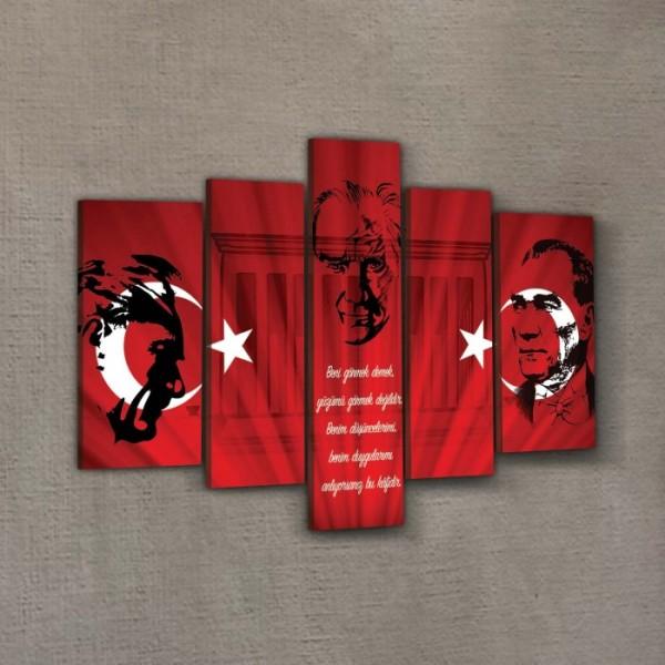 Atatürk-34 Kanvas Tablo 135x85 cm,  Ev Ofis Duvar Dekorasyonu