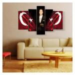 Atatürk 5 Parça Kanvas Tablo 135X85 Cm
