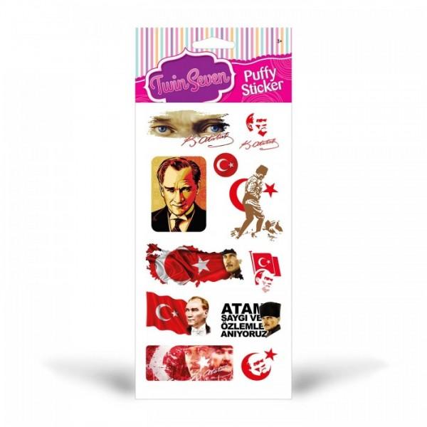 Atatürk Puffy Sticker, Atatürk Puffy Çıkartma, Atatürk Yapıştırmaları