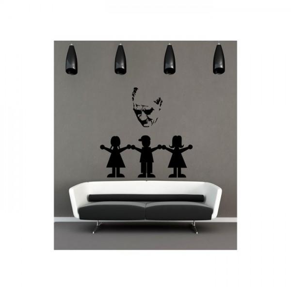 Atatürk ve Çocuklar Kadife Duvar Sticker 142X138 Cm