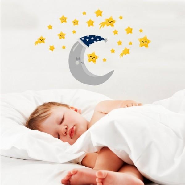Ay ve Yıldızlar Duvar Sticker 50x70 cm