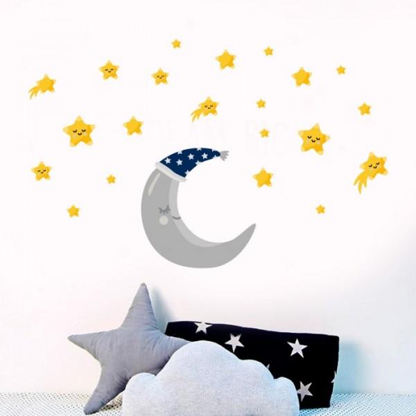 Ay ve Yıldızlar Duvar Sticker, Çocuk Odası Sticker,Duvar Dekorasyonu