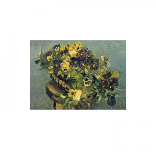 Basket of Pansies on a Small Table 50x70 cm