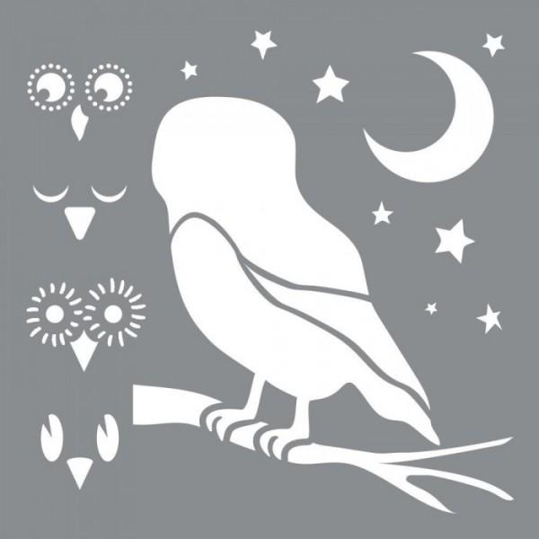 Baykuş Mimikleri Stencil Tasarımı 30 x 30 cm