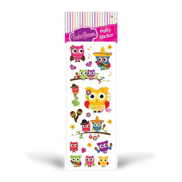 Baykuşlar Puffy Sticker 6,5x17 cm, Puffy Çıkartma, Puffy Yapıştırmaları